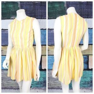 Vintage 70s Striped Chiffon Fit & Flare Dress
